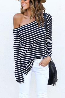 Black & White Stripe Off Shoulder Bottoming Blouse