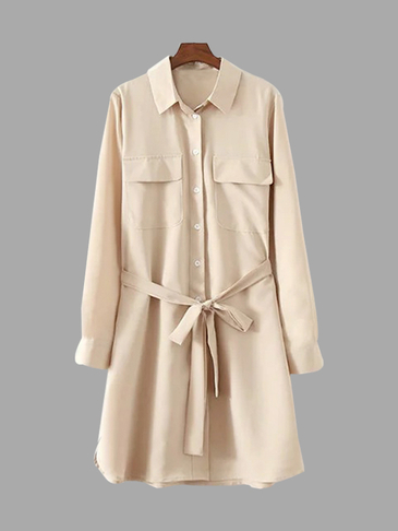 Tie Waist Shirt Summer Dress with Long Sleeves