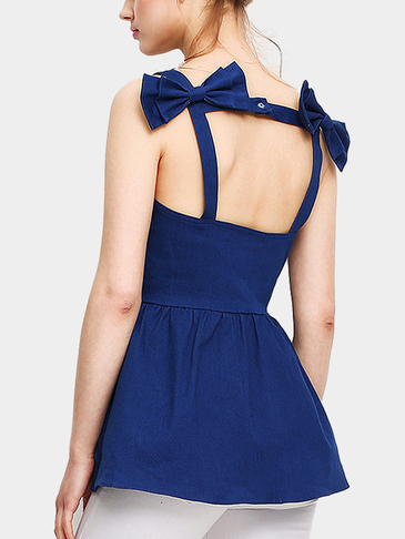 Backless Двойной Bowknot на спине Denim Cami Top
