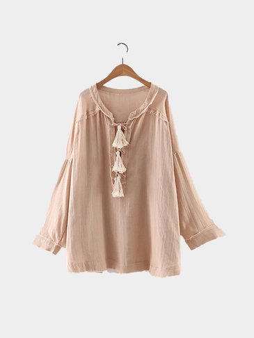 Beig Self-tie front Long Sleeve Shirt with Tassel Detail