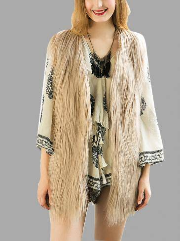 Light Khaki Fashion Sleeveless Artificial Fur Coat
