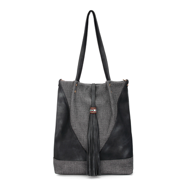 Black Leather-look Spliced Shopper Bag with Tassel and Embroidered Detail