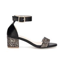Black Glitter Embellished Block Heel Adjustable Ankle Strap Sandals