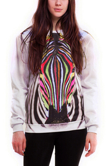 Fashion Digital Zebra Animal Pattern Round Neck Long Sleeves Sweatshirt