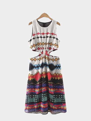 Sleeveless Cutouts Bohemian Print Dress