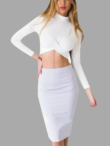 White Sexy Long Sleeves Irregular Hem Cropped Top