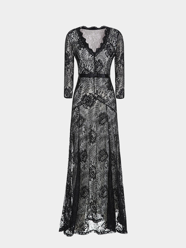 Black Maxi Dress With Eyelash Lace Trim
