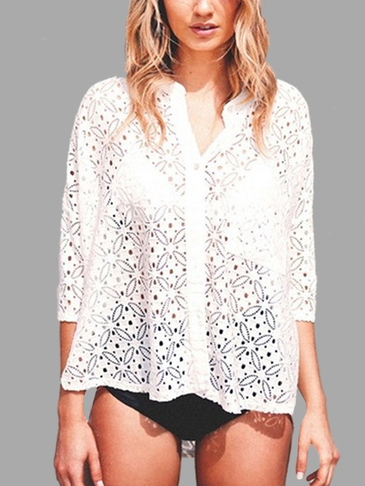 V Neckline Hollow Out Lace Shirts