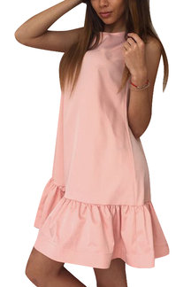 Pink Round Neck Sleeveless Flounced Hem Mini Dress