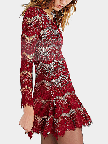 Red Eyelashes Long Sleeves Lace Mini Dress