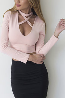 Pink Sexy Halter Design Bodycon Crop