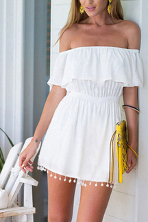 White Layered Elastic Waist Dress with Tassel Details