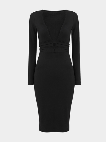 Plunge V-neck Long Sleeves Midi Dress