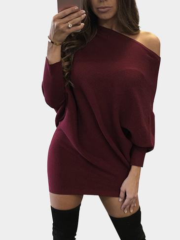 Burgundy One Shouder Bat Sleeves Irregular Hem Mini Thin Dress