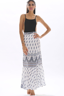 Tribal Print Layered Pattern Self-tie Flounced Hem Maxi Skirt