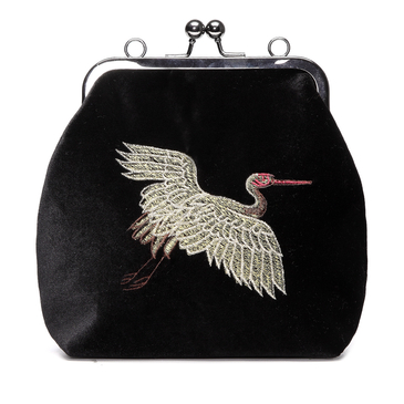 Black Velvet Animal Embroidery Across Body Bag with Braided Strap