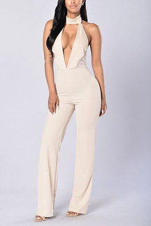Plain Color Plunge Choker Backless Sleeveless Jumpsuit