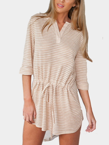 Stripe Drawstring Waist V-neck Pleats Casual Dress