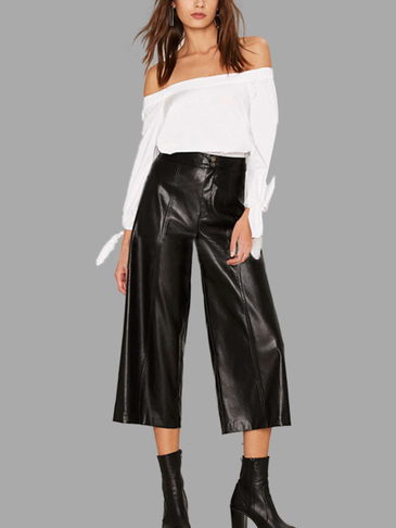 Fashion Black Leather Wide Legs Cropped Pants