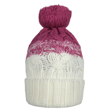 Double Color Beanie Hat with Fur Pom Pom