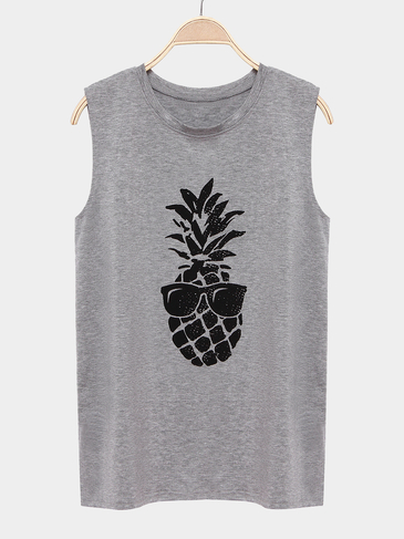 Grey Round Neck Sleeveless Vest With Pineapple Pattern