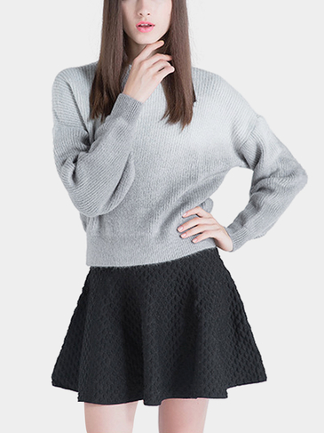 Slouchy High Neck Jumper in Gradient Grey