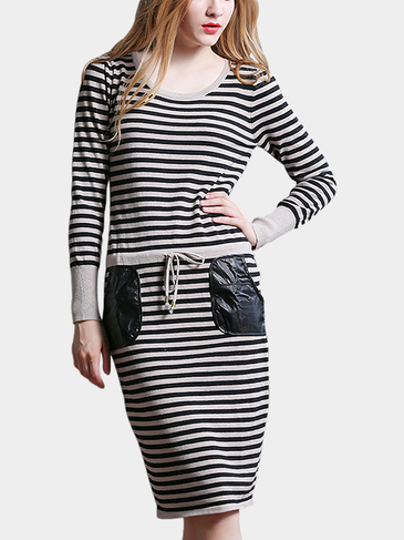 Striped Midi Dress with Draw String Waist