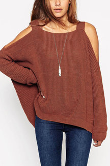 Light Brown Cold Shoulder Irregular Hem Split Sweater