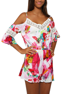 Floral Print Cold Shoulder Playsuits With Lace Inserts
