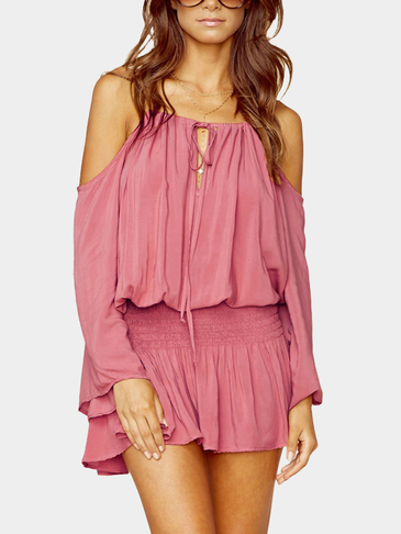 Pink Cold Shoulder Ruffled Flared Sleeves Mini Summer Dress