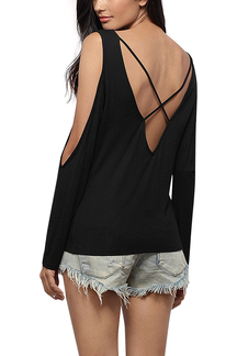 Black V Neck Cold Shoulder Top with Cross Back