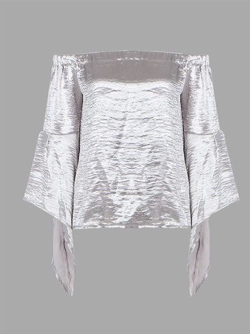 Silver Flared Long Sleeves Off Shoulder Top