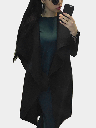 Black Open Front Sleeveless Cape Coat