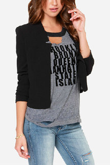 Black Long Sleeves Open Front Crop Blazer