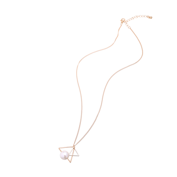 Artificial Pearl Double Triangle Gold Plated Necklace