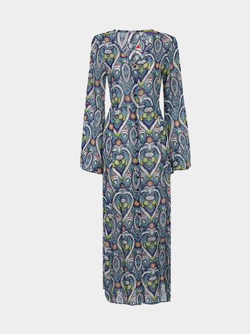 Random Floral Pattern Flared Sleeves Floor-length Dress