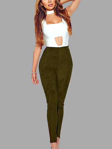 Army Green Fashion Suede Bodycon Pants