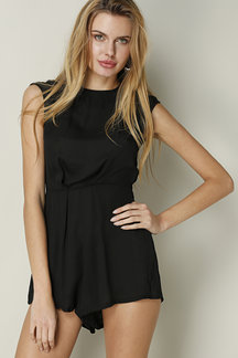 Black Casual High Collar Short Sleeves Playsuit