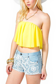 Yellow Irregular Hem Ruffled Bandeau Top