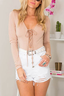Pink Lace-Up Long Sleeve Top