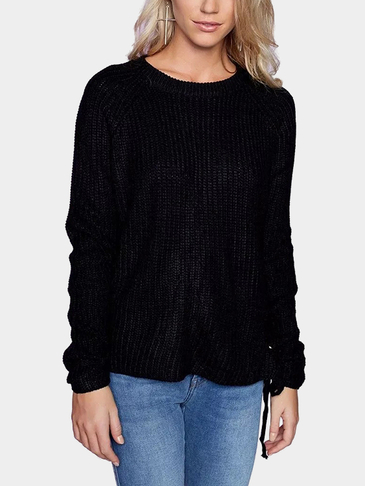 Black Fashion Raglan Lace-up Side Jumper