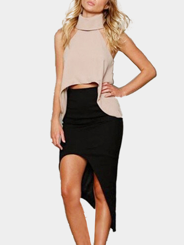 Khaki White High Collar Curved Hem Fashion Cropped Top