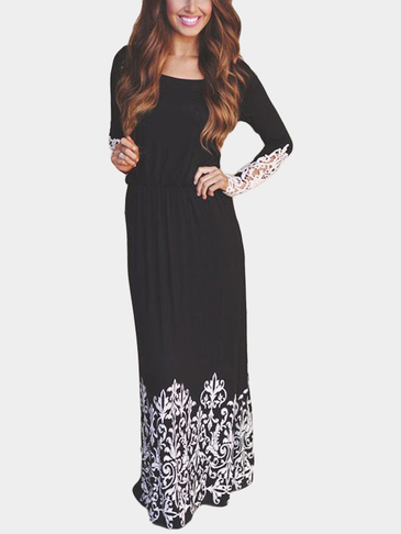 Black Lightweight Lace Details Randam Floral Prints Thin Maxi Dress