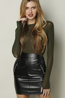 Armygreen Sheer-through Bodycon Long Sleeve T-shirt with Mittens