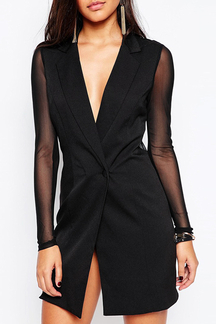 Tailored Blazer Dress with Mesh Arms and Back