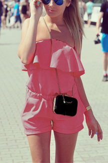 Pink Off The Shoulder Elastic Waist Playsuit