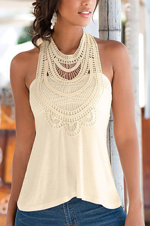 Crochet High Neck Sleeveless Top With V-shaped Cut Back