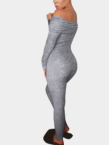 Light-gray Off Shoulder Jumpsuit with Multi Functional Neck