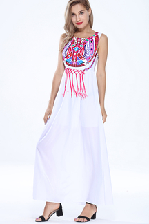 Totem Print Sleeveless Maxi Dress with Tassel Detail