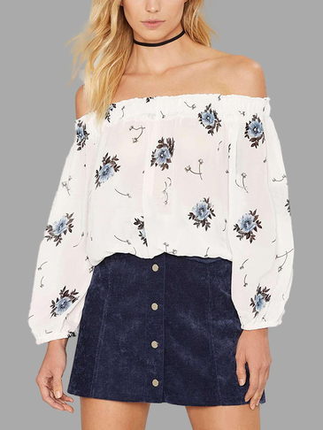 Floral Print Pattern Off Shoulder Transparent Chiffon Shirt